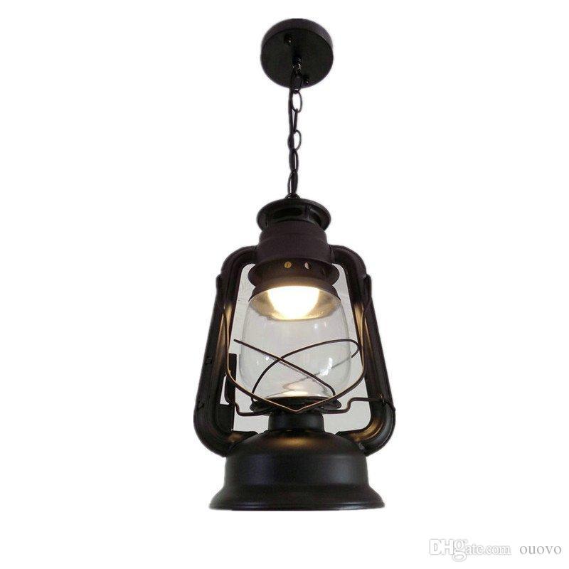 Chinois Vintage bronze fer Kérosène Lampe Chaîne Pendant Lumière clair abat-jour en verre Escalier Cas couloir couloir Fer Pendentif Kérosène Lampe
