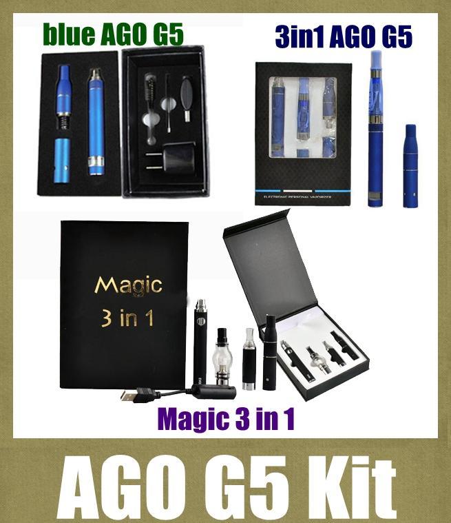 Ago G5 Dry Herb Vaporizer Pen Vapor Electronic Cigarettes AGO G5 Starter Kit 3in1 Magic 3 in 1 Vaporizer kit with lcd display battery TZH11