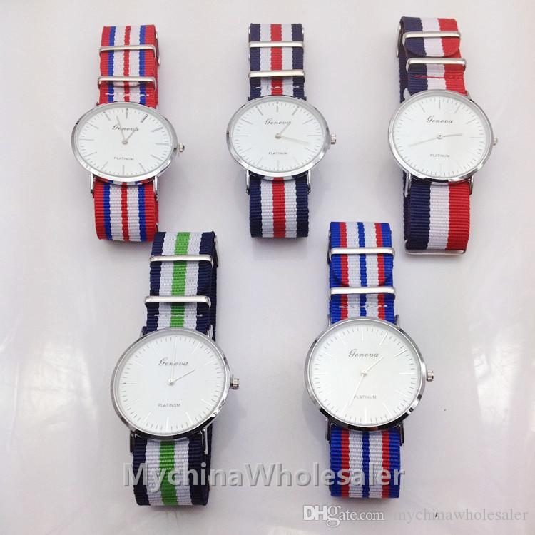 남성을위한 최고의 브랜드 럭셔리 스타일 제네바 시계 나일론 스트랩 군사 석영 손목 시계 시계 유명 브랜드 남성 여성 패브릭 스트랩 스포츠 Reloj