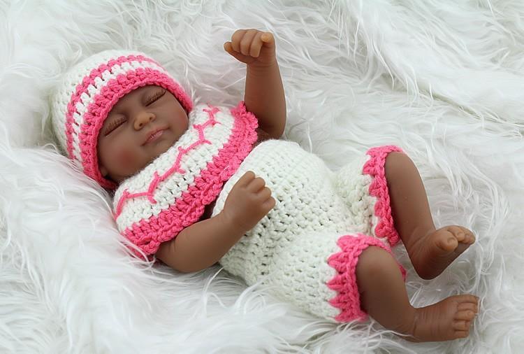 10 In Lifelike Full Body Mini Reborn Doll Newborn Baby Girl Ethnic Black Reborn