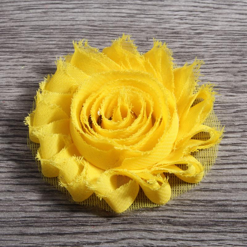 """120pcs /Lot 2 .6 """"15colors Fashion Chic Shabby Chiffon Flowers For Kids Hair Accessories 3d Frayed Fabric Flowers For Headbands"""