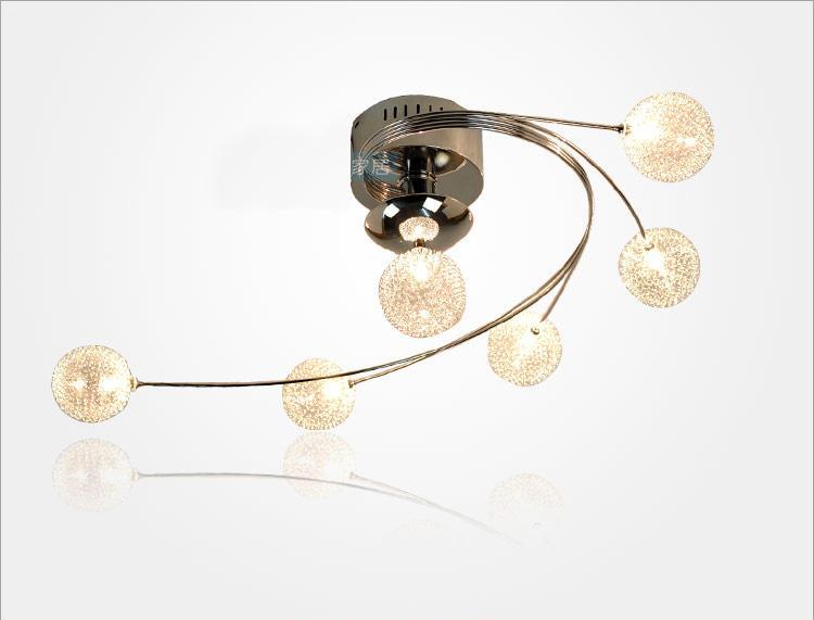 Plafoniera da camera da letto creatived Moderna sfera di tipo Siver Filo di alluminio Ball Lviing Room Lampada a sospensione Sala da pranzo Lampadari a soffitto Apparecchio