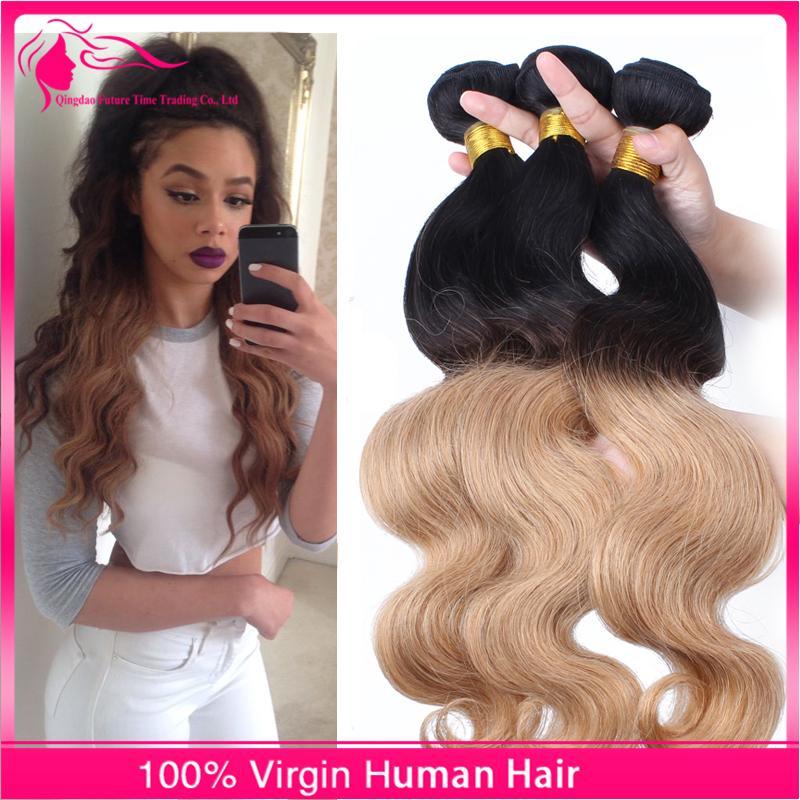 두 톤 바디 웨이브 머리카락 3pcs / lot 브라질 버진 인간의 머리카락 Weaves 컬러 1B 27 헤어 번들 처리되지 않은 저렴한 가격