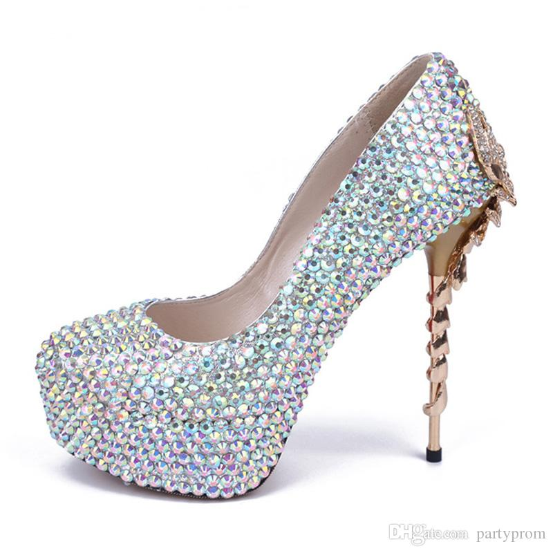 AB Color Crystal High Heels Handcraft Customized Wedding Bridal Shoes Genuine Leather Evening Party Prom Shoes Platform Heels