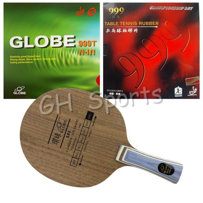 Wholesale- Pro Table Tennis PingPong Combo Racket Globe 522 with Globe 999T Japanese Sponge and 999 999T Shakehand long handle FL