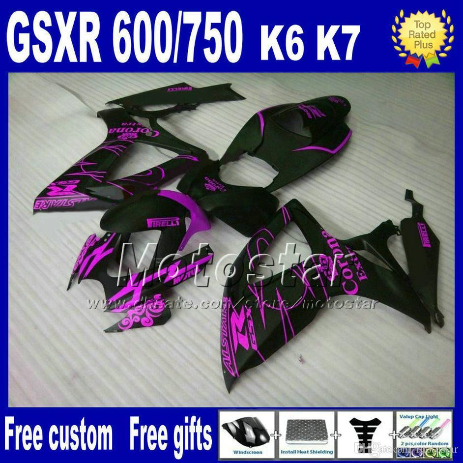 Wysokiej jakości bodykit dla Suzuki GSX R600 R750 06 07 K6 GSX-R 600/750 2006 2007 Matowe Czarne Purple Corona Fairings Set