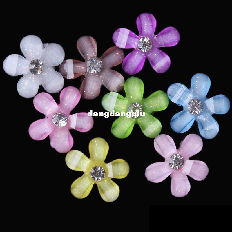 Wholesale-2014 NEW ! free shipping 10mm beautiful little flower Resin Flatback beads with shiny rhinestone for Nail Art