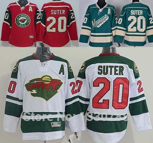 Factory Outlet, Newest Comming Minnesota Wild Jersey #20 Ryan Suter Red Home White Road Green Alternate Cheap MN Wild Mens Ice Hockey Jersey