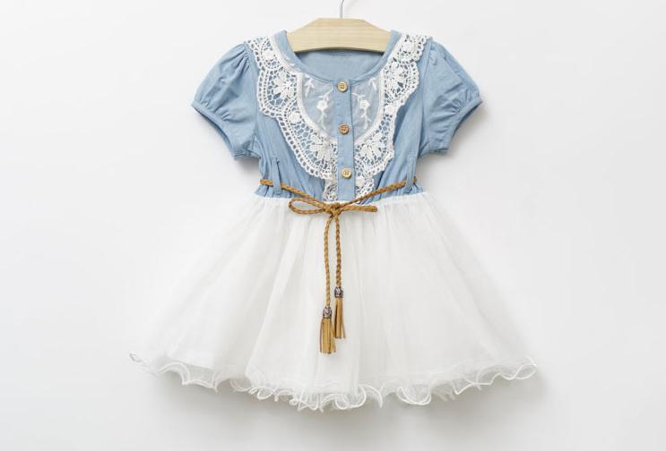 1 قطع retal بيع جديد ملابس الأطفال نوعية جيدة الدنيم صافي غزل فتاة حلوة اللباس مع حزام قصيرة الأكمام الطفل كيد الأميرة اللباس GX65