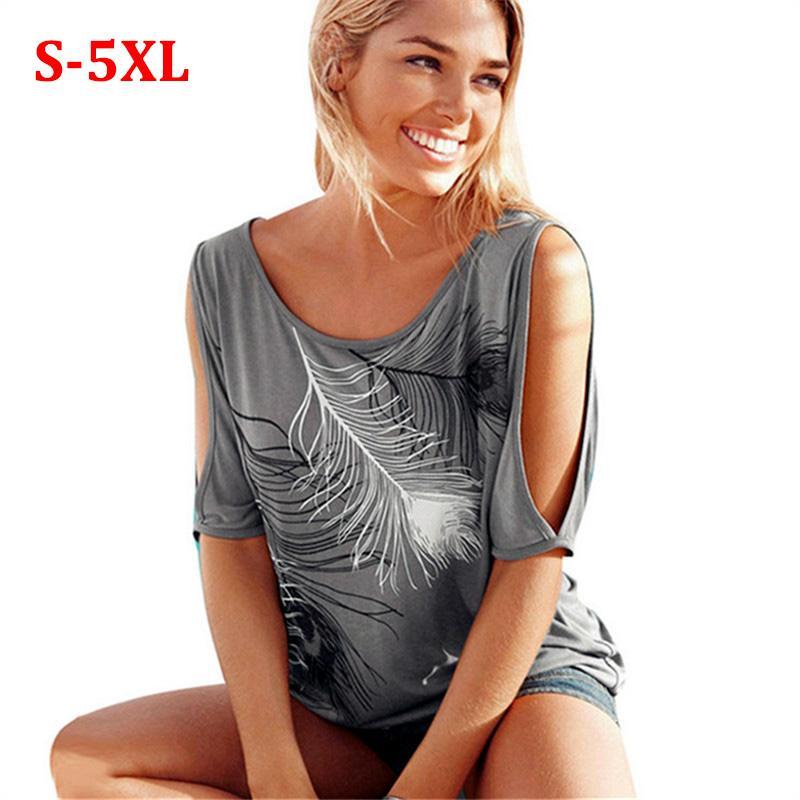도매 - Blusas Femininas 2017 여자 여름 블라우스 짧은 소매 블라우스 셔츠 깃털 프린트 캐주얼 셔츠 여자 톱 플러스 사이즈 S-5XL
