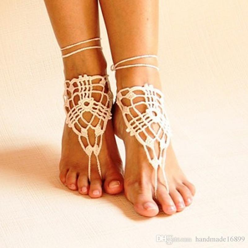 Strand häkeln Hochzeit barfuss Sandalen, Nude Schuhe, Fuß Schmuck, viktorianische Spitze, Yoga Schuhe, Braut Fußkette, Strand Zubehör