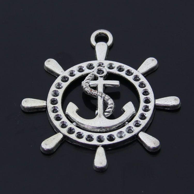 O Envio gratuito de 8 pçs / lote âncora leme charme pingente 46 * 50mm antigo ajuste de prata pulseira colar diy jóias de metal fazendo