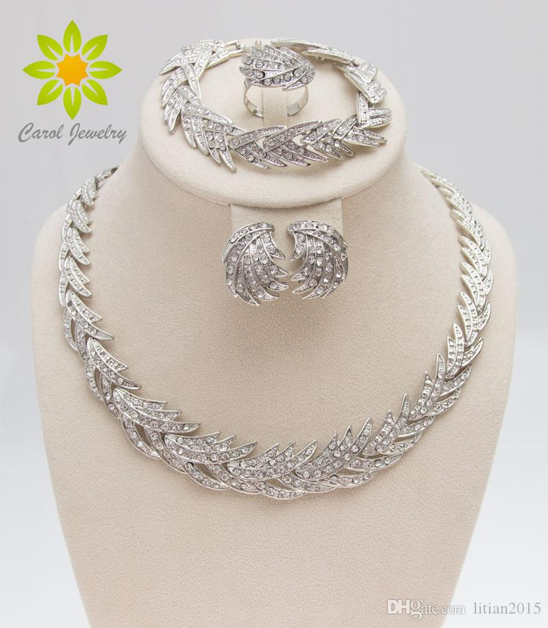 Free Shipping 2015 Leaves Shape Silver Plated Clear Crystal Jewelry Set New Fashion Wedding Bridal African Costume Jewelry Sets