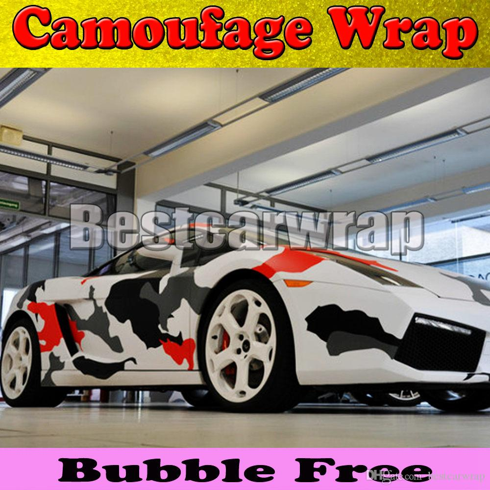 Red white Black arctic Camo Vinyl Car Wrap Film With Air Rlease Gloss / Matt Snow Camouflage Pixel Car Sticker 1.52x30m/Roll(5x100ft)