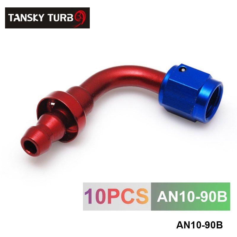 TANSKY - 10AN AN10 10-AN 90 grados ACEITE GIRO / COMBUSTIBLE / LÍNEA DE GAS TUBO DE MANGUERA EXTREMO ACOPLAMIENTO MACHO AN10-90B