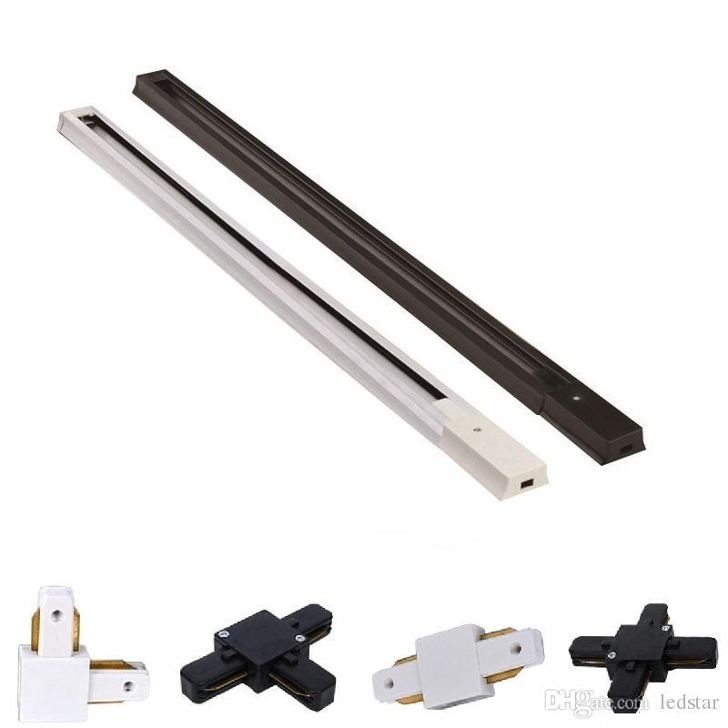 Gratuite voie de rail de rail de projecteurs led spots en aluminium épais de rails de voie ferrée 0,5 M 1 M 1,5 M 2 M haute qualité piste 2 fils