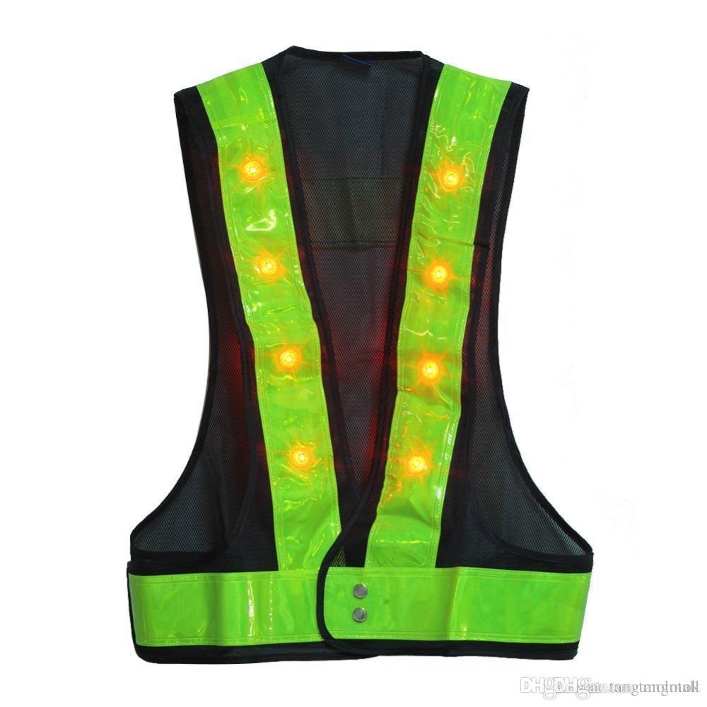 16 LED Light Up Chaleco de seguridad con rayas reflectantes Kevlar Chaleco táctico Neon lime V ropa Cinturón de seguridad Impresión de artículos A5