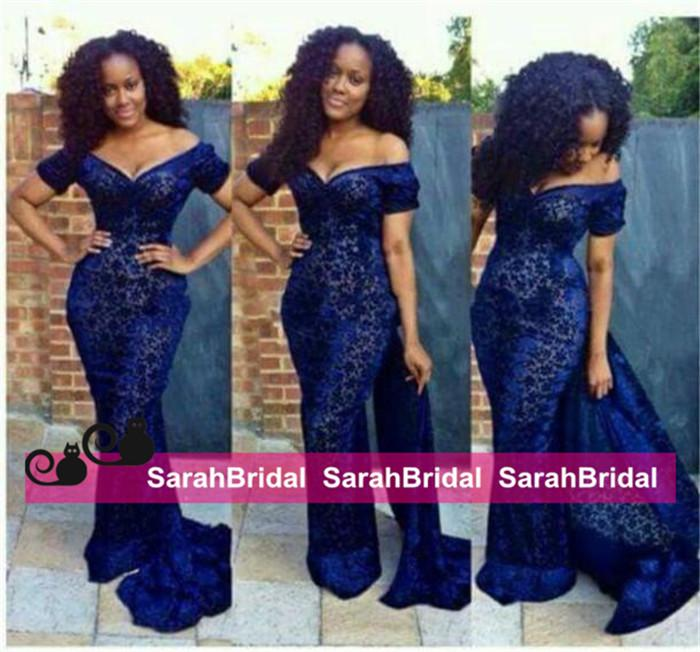 2019 New Aso Ebi Style Sexy Evening Dresses Lace Mermaid Arabic Nigerian Off the Shoulder Two Piece Party Gowns Formal Occasion Wear