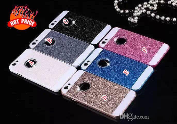 Elmas Glitter Plastik PC Sert Altın Bling durumda Çift Renk kapak iphone 6 için artı 6G 5.5 '' 4.7 '' 4 4G 4 S 5 5G 5 S Halka Yuvarlak Delik cilt kapak