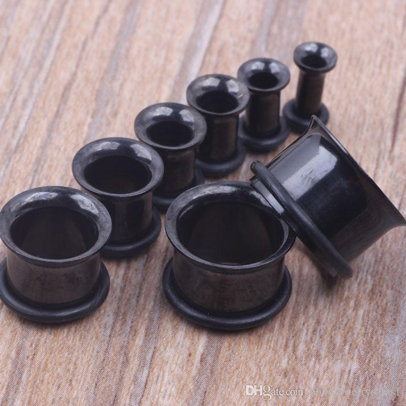 100 unids / lote mezclar 3-14mm de acero inoxidable negro flare único Ear Tunnel Body Jewelry tapón del oído túnel de la carne de perforación