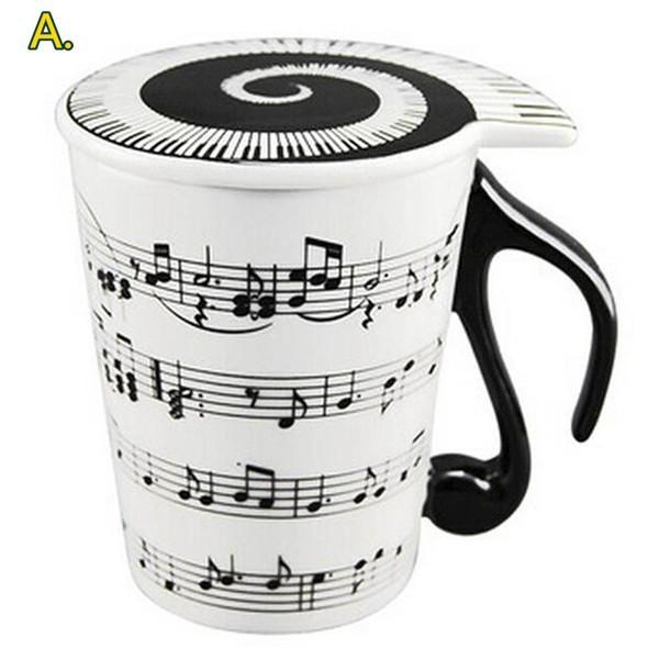 musical note mug piano keyboard milk water glass cup with cover handle drinkware coffer mugs ceramic staff tea cups