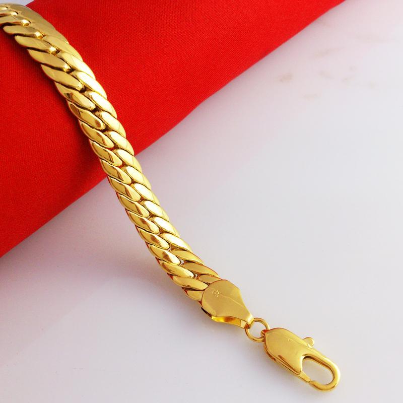"""Оптовая массивный 8.12 """" 18K желтое золото заполненные мужской браслет двойной снаряженная цепь 10 мм широкий 35G бесплатно"""