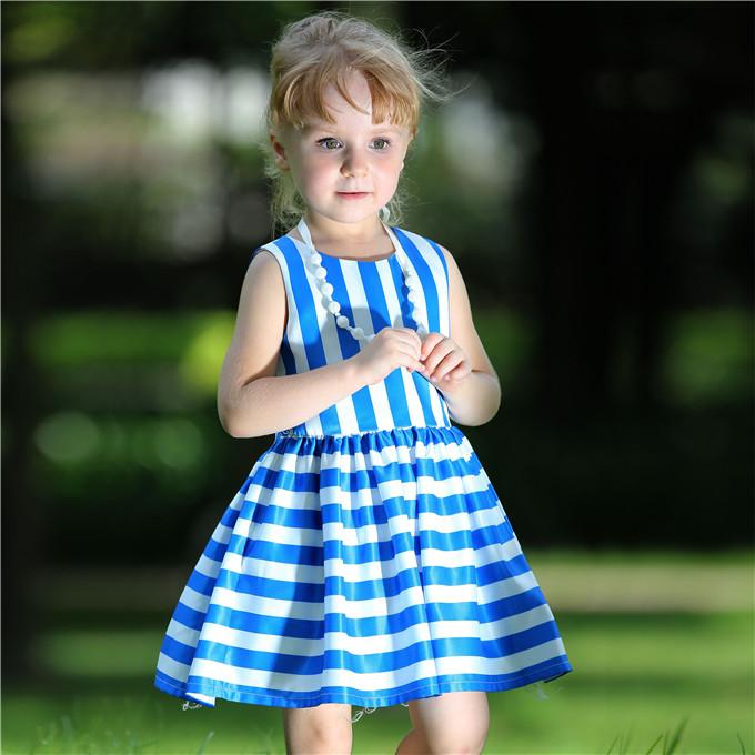 Pettigirl Retail Summer Popular Girls Blue Dress With Stripe And Silky Fabric Kids Clothing For Wholesale Children Clothing GD80828-124F