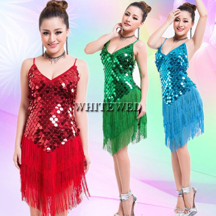 Mujeres de los años 20 Borla Lentejuela Tango Sala Latino Fringe Dance Team Mini Fancy Flapper vestido salón de baile ropa V cuello barato