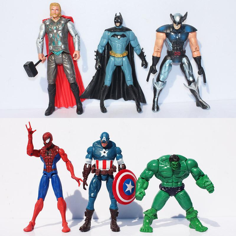 The Avengers Super Heroes 6pcs/set Action Figures 15cm Captain America Spider Man Hulk Thor Batman Wolverine Plastic Toys PVC Dolls Retail
