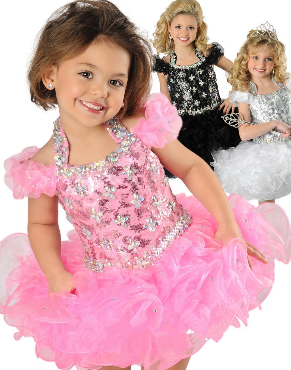 Halter Mini короткий младенческий малыш органзабаллгоул маленький дети свадебный цветок девочек пламенциональный конкурс платья кексы на заказ