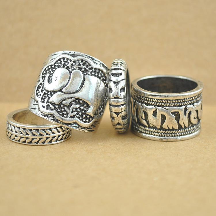 Gypsy Vintage Ring Set Carved Antique Elephant Totem Leaf Turkish Rings For Women Boho Jewelry Wholesale 12 Sets