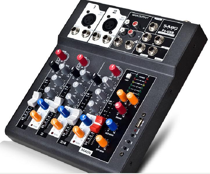 F4-USB Mini Audio Mixsole Console مع USB ، معالج تأثير مدمج Audio Mixer ، 4 قنوات وحدة صوت خلاط 48v مزود الطاقة