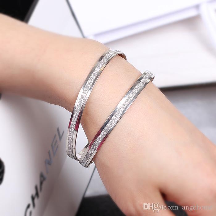 النسخة الكوريةالنسيج الرملي هدفين الأزياء دائرة مزدوجة ماتي الذهب الإسورة jerwelry هدية لسيدة عشاق الزفاف هدية عيد الحب هدية