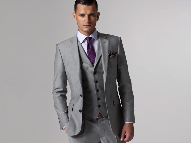 Top Quality Slim Fit 2015 Groom Tuxedos Light Grey Side Slit Groomsmen Mens Wedding Prom Suits Cheap Custom Made (Jacket+Pants+Tie+Vest)