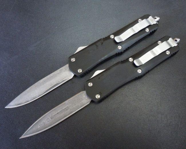 grande A07 damas Damasco dupla ação de caça dom Folding bolso Survival Xmas faca automática facas automáticas auto faca