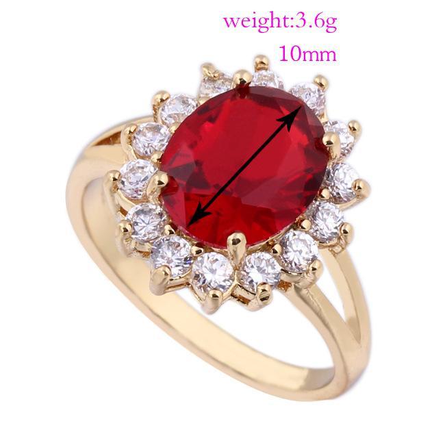 Upscale marca de jóias completa Limpar Cubic Zirconia ouro 18K cristal vermelho rubi Mulheres casamento nupcial Engagement banda anel A989