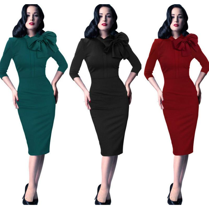 Women Retro Vintage Style Casual Party 50s Wiggle Pencil Dress Cocktail Evening