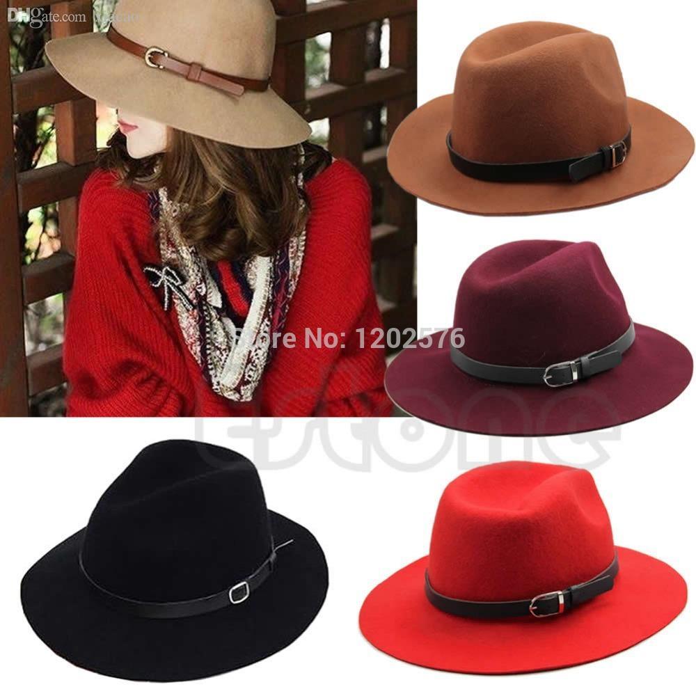 Venta al por mayor-A96 del envío libre de las mujeres cinturón de lana Fedora Trilby Cap invierno cálido ancho Brim Buckle sombrero de vaquero