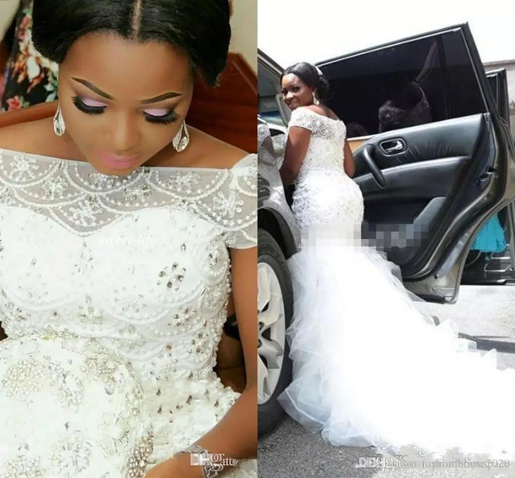 Plus Size arabischen nigerianischen Brautkleider Bateau Hals Perlen Tiered kurzen Ärmeln lange Kapelle Zug Tüll Meerjungfrau Brautkleider