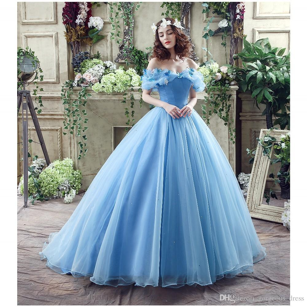 In Stock Wedding Dresses Cinderella Ball Gown Off The Shoulder Floor ...