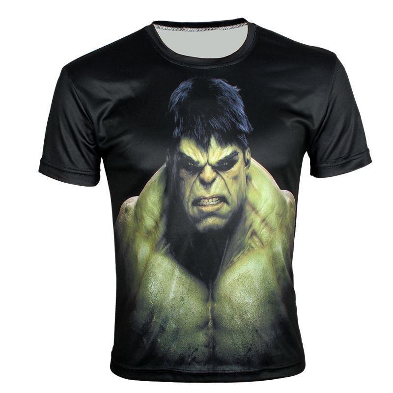 W1209 Super Hero O hulk Impressão Criativa 3D camiseta Verão de Manga Curta Esporte Magro T-Shirt XXS-6X, E159