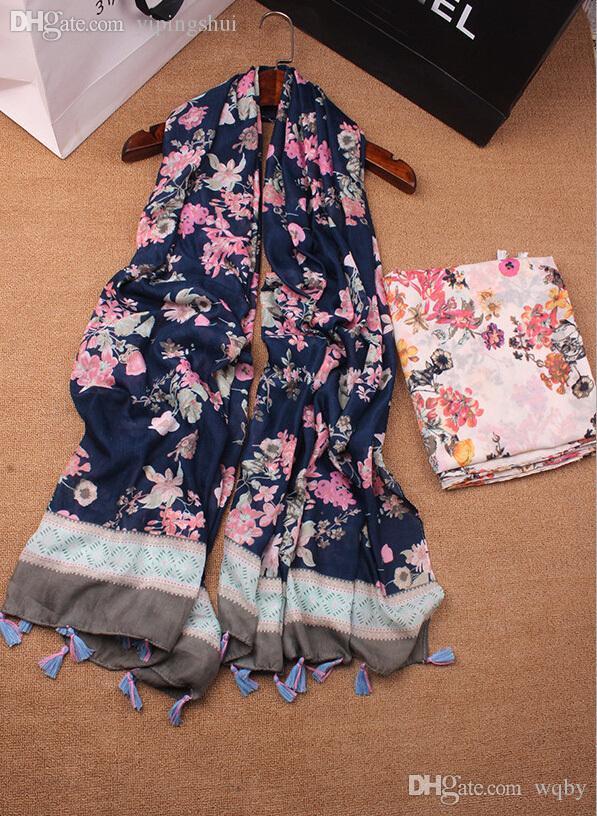 Venta al por mayor-mejor venta NUEVA printe borlas florales chales de algodón largo cabeza musulmana abrigo Silenciador hijab abrigo otoño bufandas / bufanda 10pcs / lot
