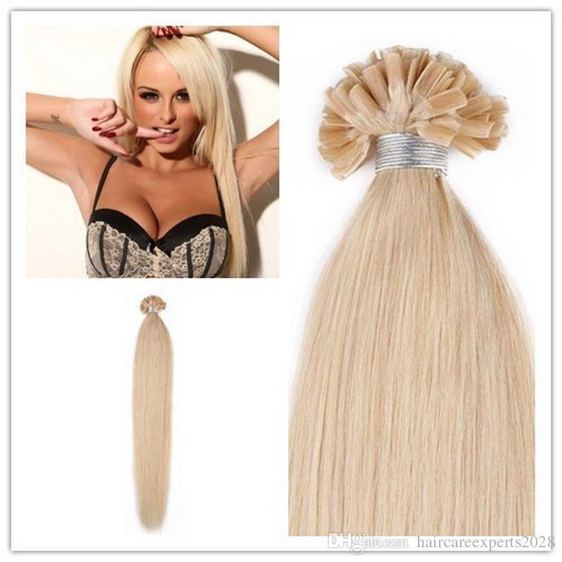 "wholesale -200s/pack 1g/s 14''- 24"" Keratin Stick u Tip Human Hair Extensions Malaysian hair 60# platinum blonde dhl Fast shipping"