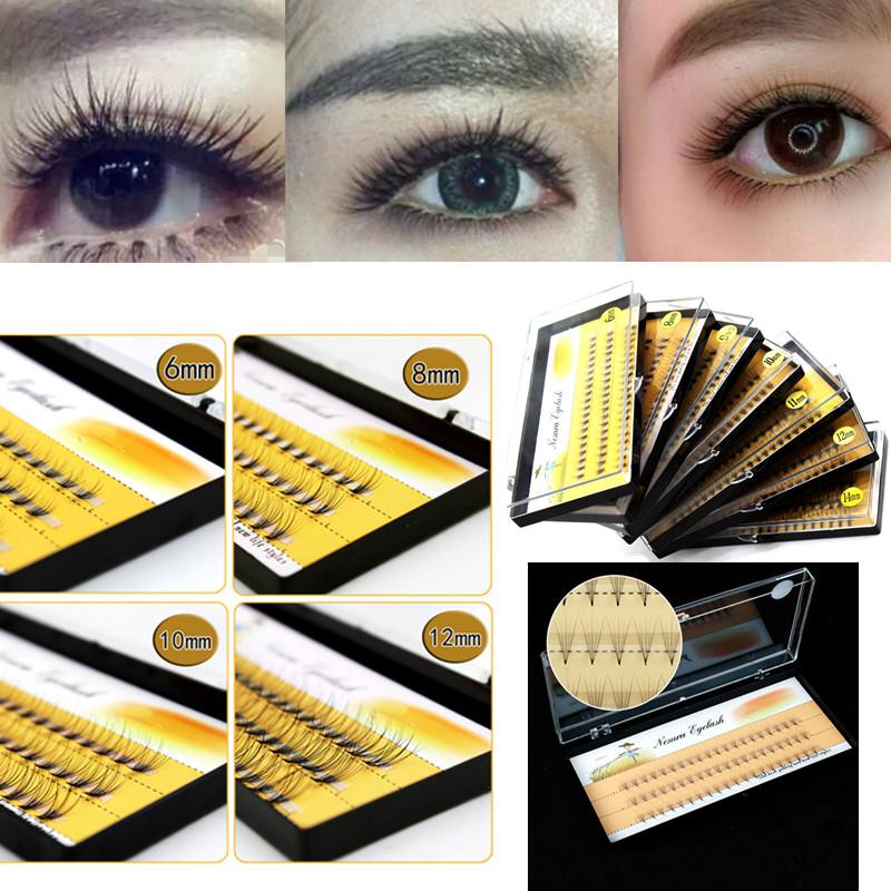 Fashion 10 Roots 60pcs Makeup Individual Cluster Eye Lashes Natural Long Soft Grafting Fake False Eyelashes