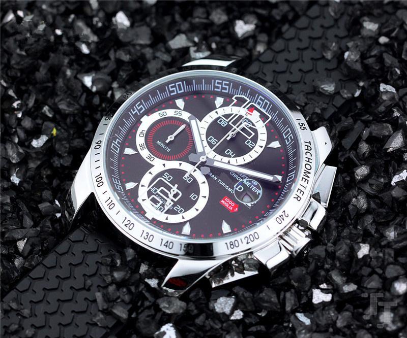 남자 석영 스톱워치 남성 크로노 그래프 시계 1000 마일 레이스 스포츠 고무 밴드 손목 시계 (538)에 대한 뜨거운 판매 시계