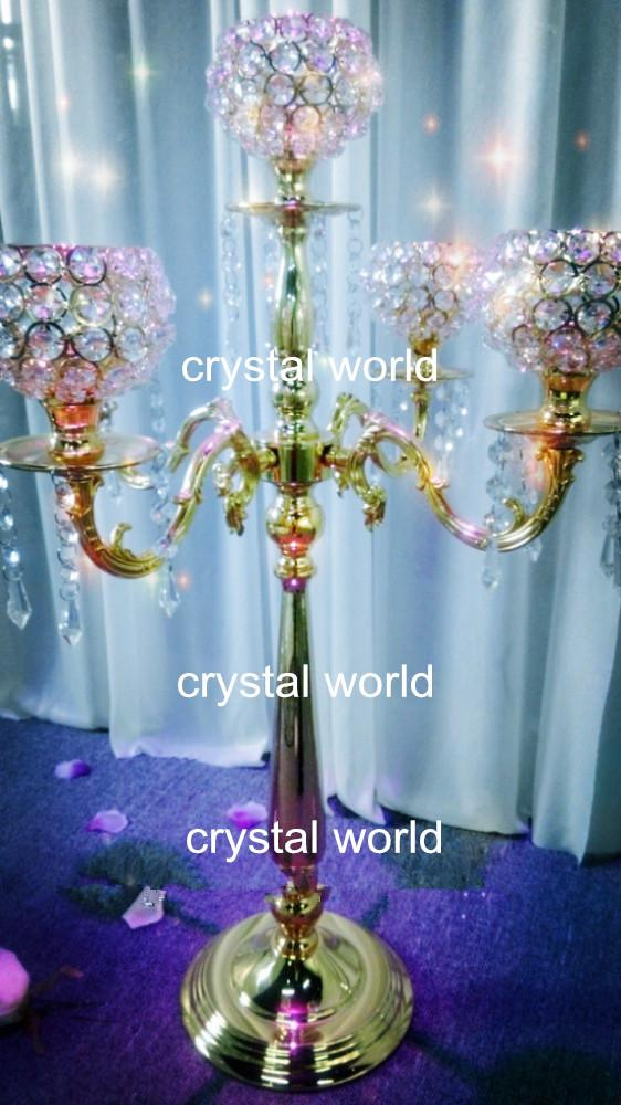 wholesale hot elegant new fashion tall crystal candelabra with flower bowl centerpiece for wedding decoration on sale