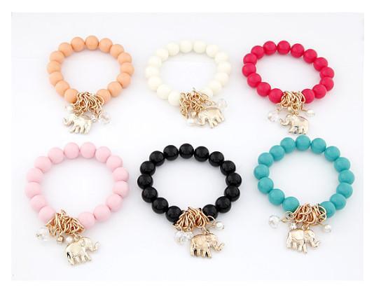 2015 neue Mode bunten Elefanten Anhänger Perlen Armband Schmuck für Frauen 6 Farben erhältlich hohe Qualität