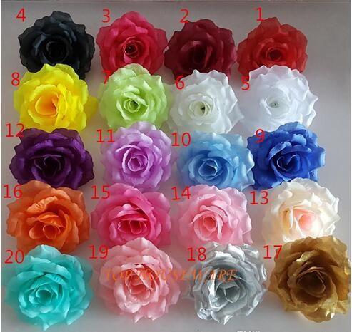 200pcs rose 10cm 20colors Artificial fabric silk rose flower head diy decor vine wedding arch wall flower accessory Free freight