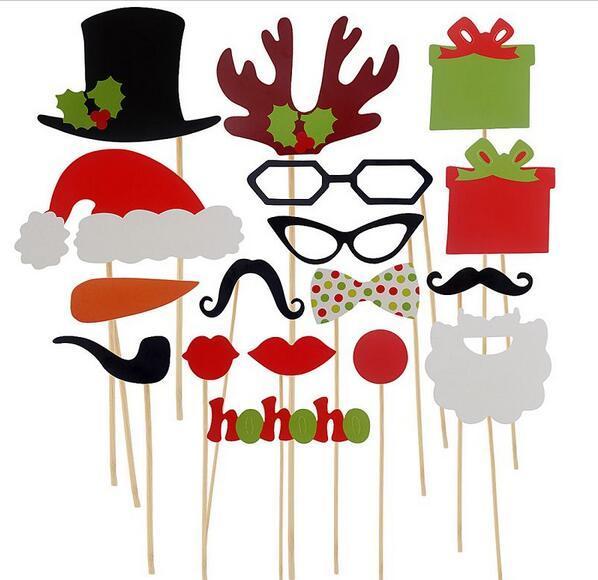 17pcs Photo Booth Props усы губ палку свадьба с Рождеством Новый год JIA445