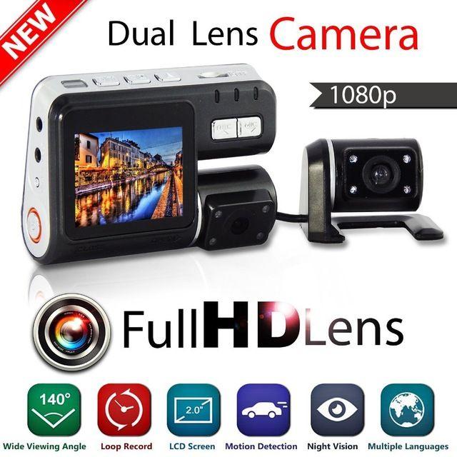 Dual Lens Camcorder i1000 Auto Car DVR Dual Camera HD 1080P Dash Cam Black Box Driving Recorder With Parking Rear lens Cameras